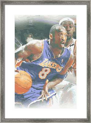 Kobe Bryant Lebron James Framed Print by Joe Hamilton