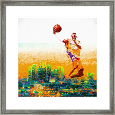 Kobe Bryant Los Angeles Lakers Digital Painting 1 Framed Print by David Haskett