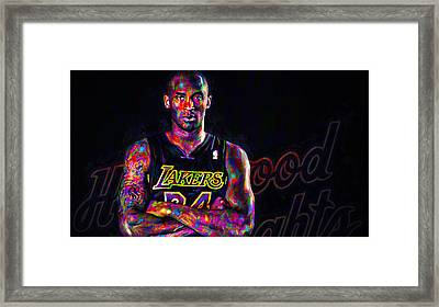 Kobe Bryant Los Angeles Lakers Digital Painting 2 Framed Print by David Haskett