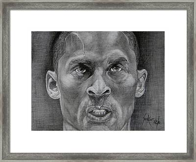 Kobe Bryant Framed Print by Stephen Sookoo