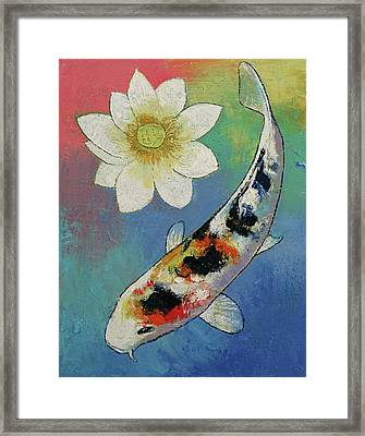 Koi And White Lotus Framed Print by Michael Creese