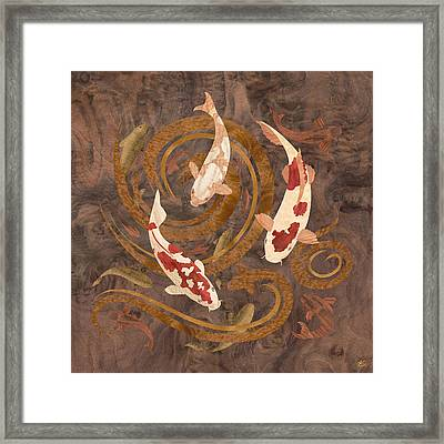 Koi Fish Wood Art Framed Print by Vincent Doan
