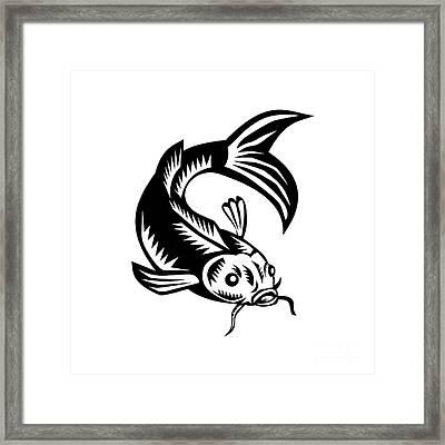 Koi Nishikigoi Carp Fish Woodcut Framed Print by Aloysius Patrimonio