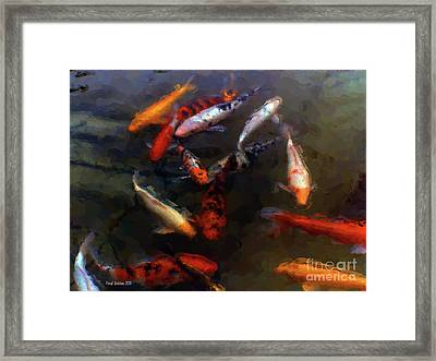 Koi Pond Watercolor Framed Print by Fred Jinkins