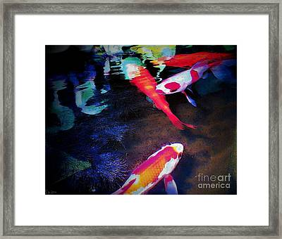 Koi Under Glass Framed Print by Sally Siko