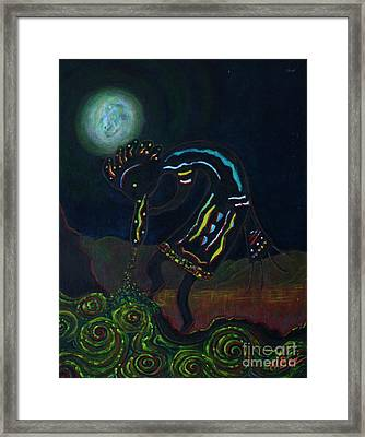 Kokopelli In Moonlight Framed Print by William Bezik