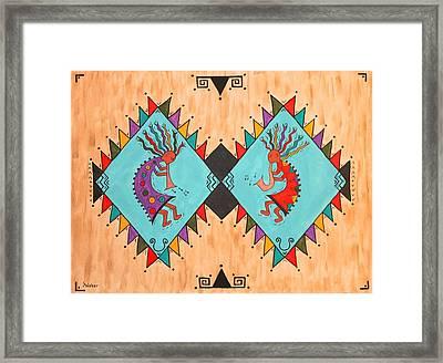 Kokopelli Jammin Framed Print by Susie WEBER