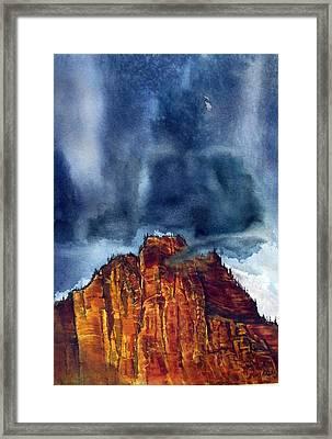Kolob Thunderstorm Framed Print by Russell Cornelius