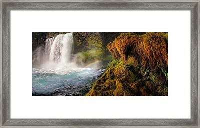 Koosah Falls Panoramic Framed Print by Leland D Howard