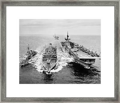 Korean War: Ship Refueling Framed Print by Granger