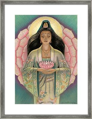 Kuan Yin Pink Lotus Heart Framed Print by Sue Halstenberg