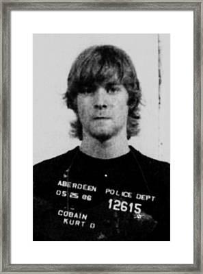 Kurt Cobain Mug Shot Vertical Black And Gray Grey Framed Print by Tony Rubino