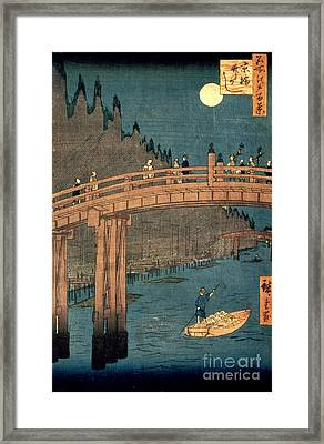 Kyoto Bridge By Moonlight Framed Print by Hiroshige