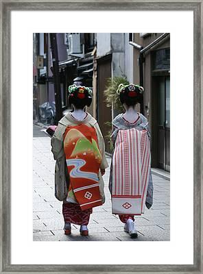 Kyoto Geishas Framed Print by Jessica Rose