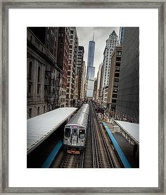 L Train Station In Chicago Framed Print by James Udall