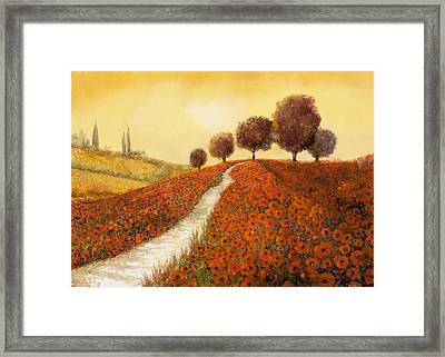 La Collina Dei Papaveri Framed Print by Guido Borelli