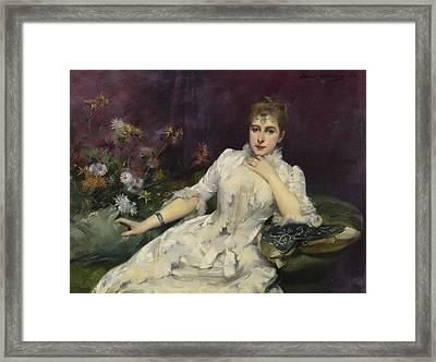 La Dame Avec Les Fleurs Framed Print by Louise Abbema