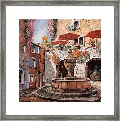 la fontana a St Paul de Vence Framed Print by Guido Borelli