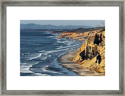 La Jolla Cliffs Over Blacks Framed Print by Russ Harris