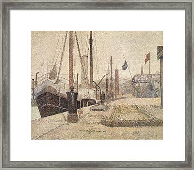 La Maria At Honfleur Framed Print by Georges Pierre Seurat