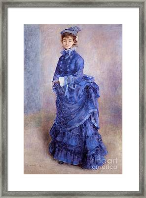 Woman In Hat Framed Print featuring the painting La Parisienne The Blue Lady  by Pierre Auguste Renoir