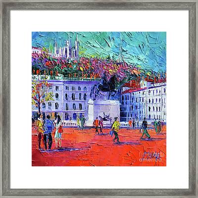 La Place Bellecour A Lyon Framed Print by Mona Edulesco