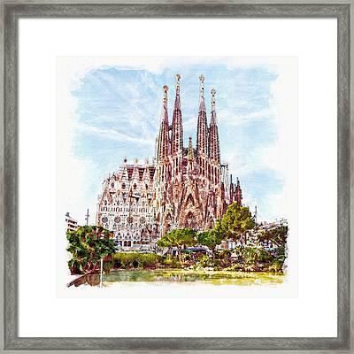 La Sagrada Familia Watercolor Framed Print by Marian Voicu