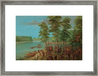 La Salle Taking Possession Of The Land At The Mouth Of The Arkansas Framed Print by Mountain Dreams