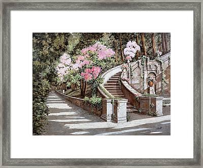 La Scalinata E I Fiori Rosa Framed Print by Guido Borelli
