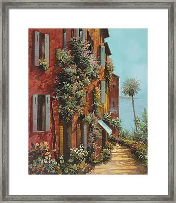 La Strada Verso Il Lago Framed Print by Guido Borelli