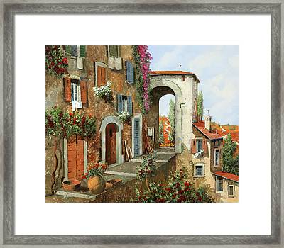 La Stradina Tra I Campi Rossi Framed Print by Guido Borelli