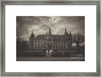 Laarne Castle In The Fog, Belgium, Bw Framed Print by Sinisa CIGLENECKI