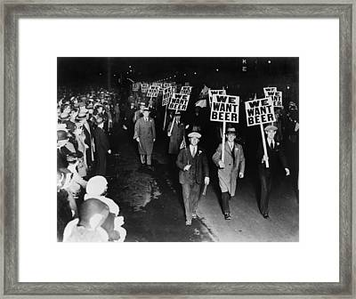 Labor Union Members Protesting Framed Print by Everett
