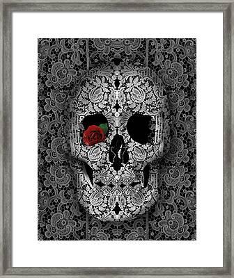 Lace Skull Black Framed Print by Bekim Art