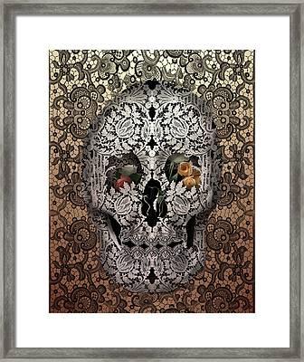 Lace Skull Sepia Framed Print by Bekim Art