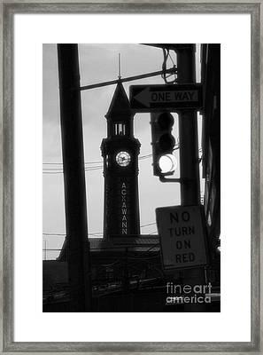 Lackawanna Clock Tower Black And White 2 Framed Print by Marina McLain