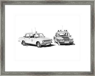 Lada Vaz 21011 Taxi 2107 Police Framed Print by Gabor Vida