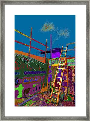 Ladder To The Colorful Sky  Framed Print by Kenneth James