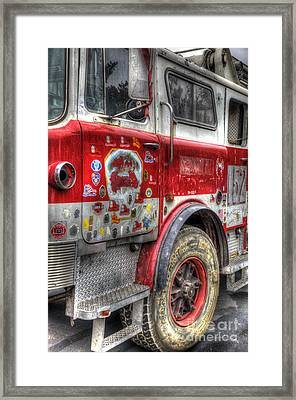 Ladder Truck 152 - In Remembrance Of 9-11 Framed Print by Eddie Yerkish
