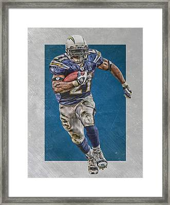Ladianian Tomlinson San Diego Chargers Art 2 Framed Print by Joe Hamilton