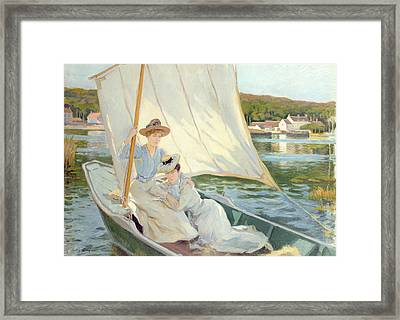 Ladies In A Sailing Boat  Framed Print by Jules Cayron