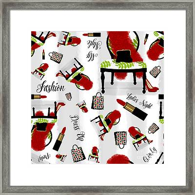 Ladies Night Out Fashion Pattern, Feather Boa, Lipstick, Shopping Framed Print by Tina Lavoie