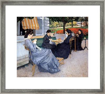 Ladies Sewing Framed Print by Gustave Caillebotte