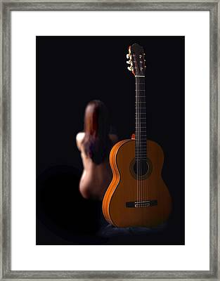 Lady And Guitar Framed Print by Dario Infini