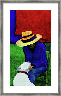 Lady And Puppy Painting Framed Print by Miss Pet Sitter