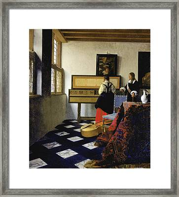 Lady At The Virginal With A Gentleman Framed Print by Jan Vermeer