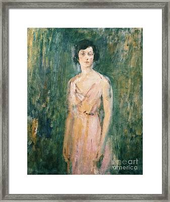 Lady In A Pink Dress Framed Print by Ambrose McEvoy