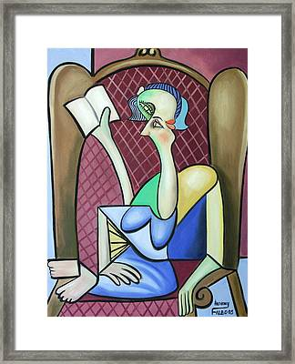 Lady In A Winged Back Chair Framed Print by Anthony Falbo