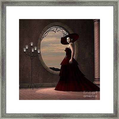Lady In Red Dress Framed Print by Corey Ford