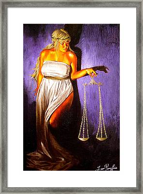 Lady Justice Long Scales Framed Print by Laura Pierre-Louis